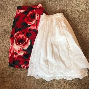 one rose skirt and one white skirt
